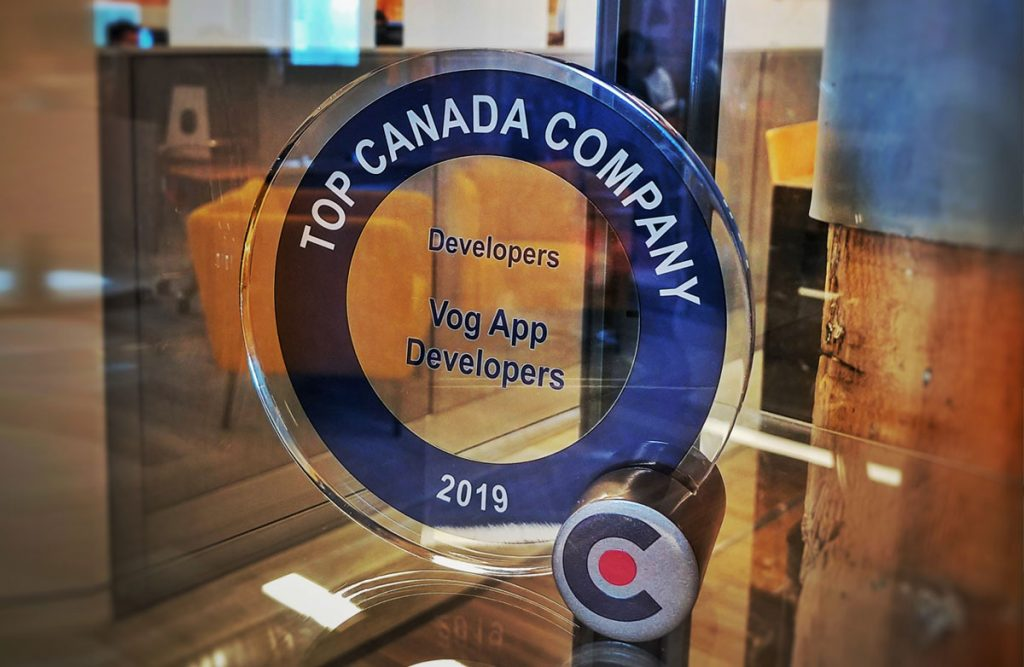 Vog App Developers won an award from Clutch for being a Top Canada company